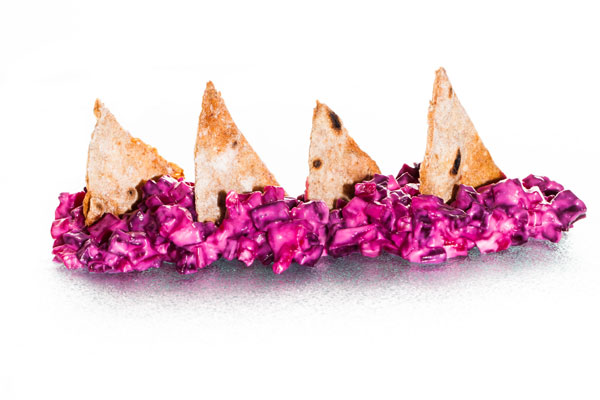 Red beetroot dip with crispy flat bread