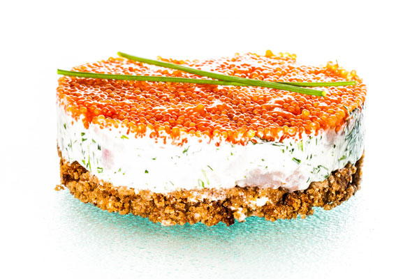 Matjes herring cake with roe topping