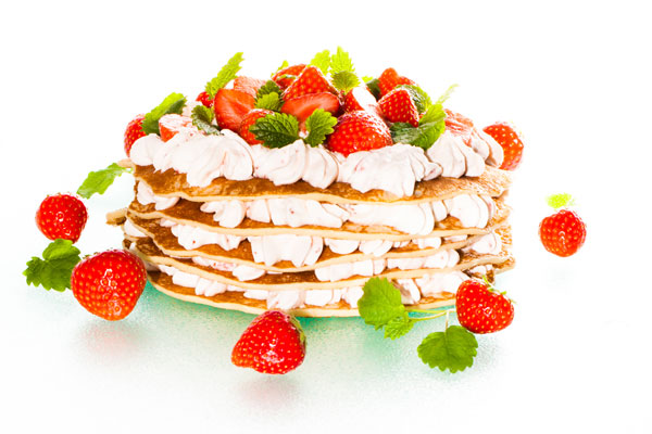 Pancake stack with strawberry mousse
