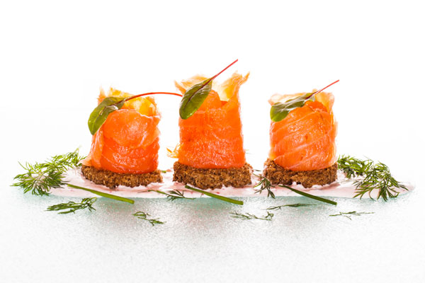 Cold smoked salmon with bleak roe sauce served on Kavring bread