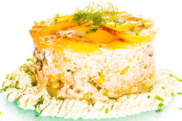 Salmon and potato pudding