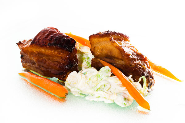Glazed short ribs with brussels sprout slaw and caramelized carrots